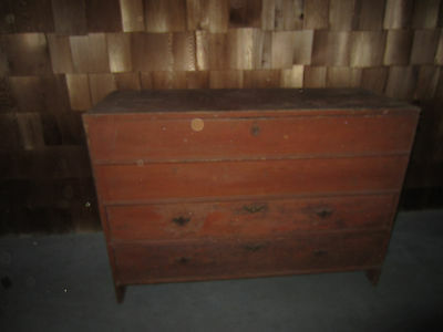 Primitive Southern Pine Red Painted Blanket Chest 18th Century