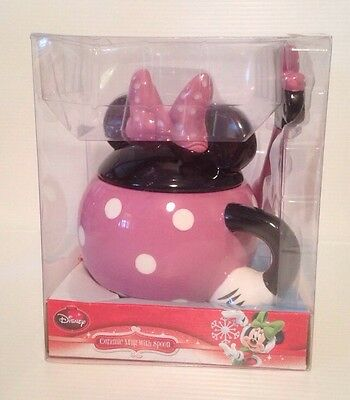 Disney Minnie Mouse Lidded Spoon Pink  Oversized Coffee Tea Mug NWT