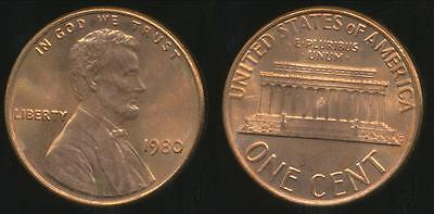 United States, 1980 One Cent, Lincoln Memorial - Uncirculated