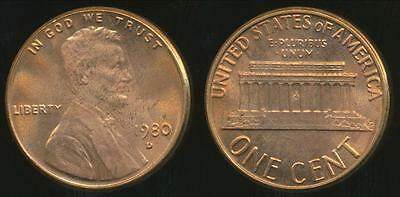 United States, 1980-D One Cent, Lincoln Memorial - Uncirculated