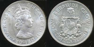Bermuda, British Colony, 1964 One Crown, Elizabeth II (Silver) - Uncirculated
