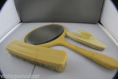 Vintage British Xylonite Brush, Buffer & Mirror Set Made in Australia by Bexyl