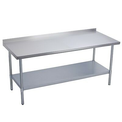 "Stainless Steel Commercial Work Prep Table - 2"" Backsplash - 30 x 72 G"
