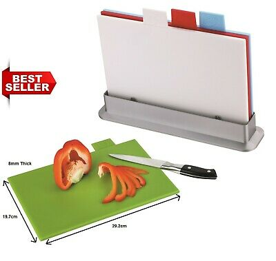 8mm INDEX Tabs Colour Coded Chopping Board Set 4 Cutting Mat Worktop + Stand