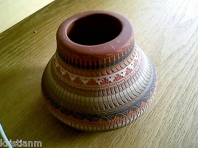 Beautiful Incised and Painted Southwestern Pot Marked J. Watson Navajo