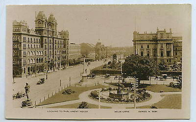 C.1912 RP NPU VALENTINES POSTCARD LOOKING TO PARLIAMENT HOUSE MELBOURNE VIC y83.