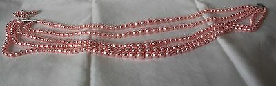 Pink Faux Pearl Four-Strand Necklace with Silver Tone Clasp
