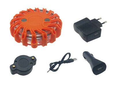 "LED Warnleuchtenset ""Safety Flash"" mit 16 LED orange mit Magnet, wiederaufladbar"