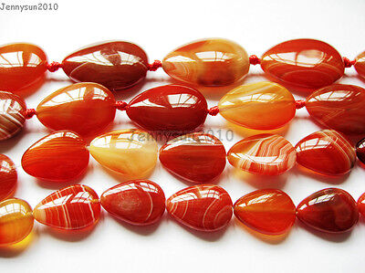 Red Carnelian Natural Agate Gemstone Flat Teardrop Loose Beads 15'' Strand