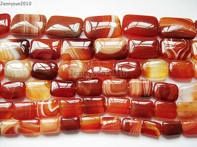 Red Carnelian Natural Agate Gemstone Rectangular Loose Beads 15'' Inches Strand