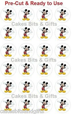 24 x MICKEY MOUSE Edible Wafer Cupcake Cake Toppers, PRE-CUT Ready to Use