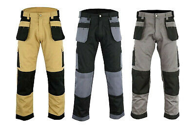 Black Grey Khaki Heavy duty cargo Work Trouser Builder Trousers Knee pad pockets