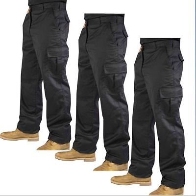 Mens Black Navy 6 pockets Cargo Combat Outdoor Trouser Work wear fashion trouser