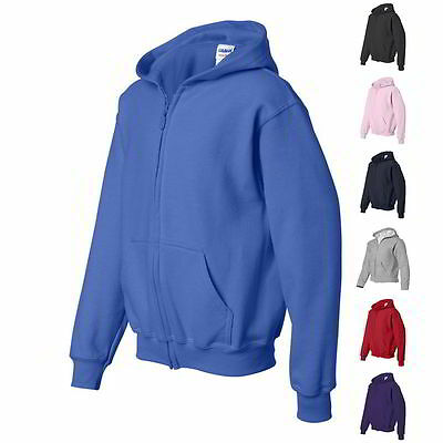 Gildan Heavy Blend Youth Full Zip-Up Boys Hoodie Sweatshirt