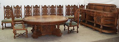Renaissance Revival Carved Oak Dining Set #7851