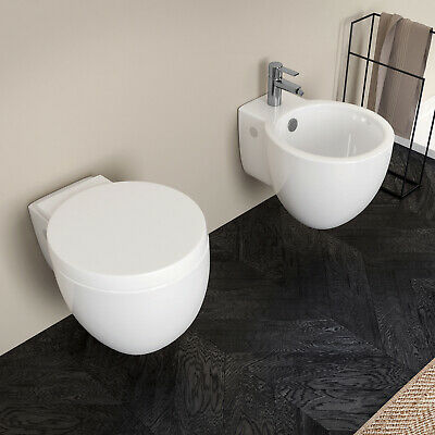 Sanitari sospesi moderni in ceramica nuovo design vaso bidet e sedile soft-close