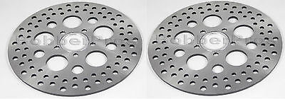 """Harley Brake Disc Rotors 11.5"""" Satin Vented Stainless Steel (1 Front, 1 Rear)"""