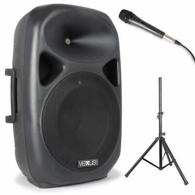 SPS152 Karaoke Vexus 15 Inch Active Speaker w/ Stand, Microphone, MP3, Bluetooth