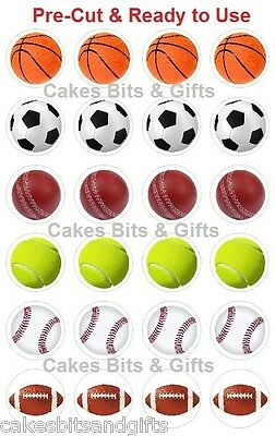 24 x SPORTS BALLS Edible Wafer Cupcake Cake Toppers, PRE-CUT Ready to Use SPORT