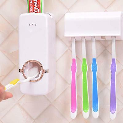 Automatic Toothpaste Dispenser And 5 Toothbrush Holder Set Wall Mount Rack Bg