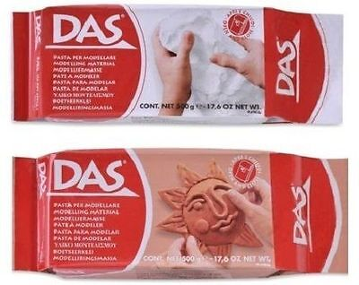 DAS HIGH QUALITY MODELLING DOUGH WHITE OR TERRACOTTA DRYING AIR CLAY 500gr