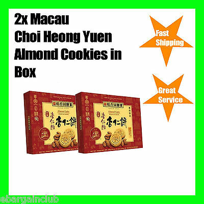 2x Macau Choi Heong Yuen Bakery Almond Cake Cookies in Box