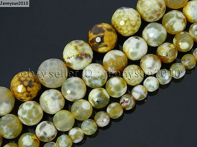 Yellow Fire Crackle Agate Gemstone Faceted Round Beads 15'' 6mm 8mm 10mm 12mm