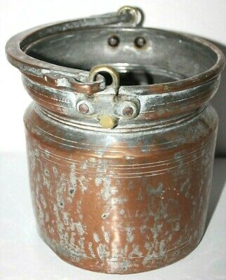 Antique Islamic Copper Tinned Bucket with Handle - FREE Postage [PP-117]