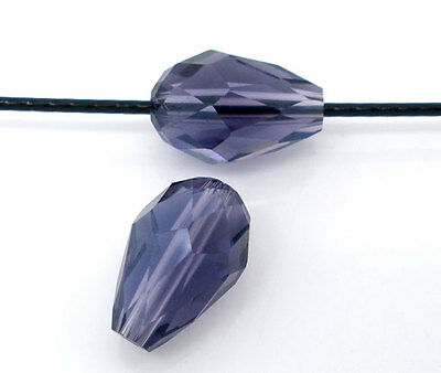 15 AMETHYST PURPLE TEARDROP FACETED CRYSTAL GLASS BEADS ~ 8x11mm~Necklace (71C)
