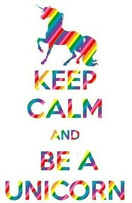 Keep Calm and Be a Unicorn Iron On Transfer 12x9cms - FOR WHITE COTTON