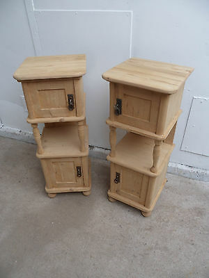 A Really Pretty & Unusual Pair of Columned Bedside Cabinets to Paint or Wax