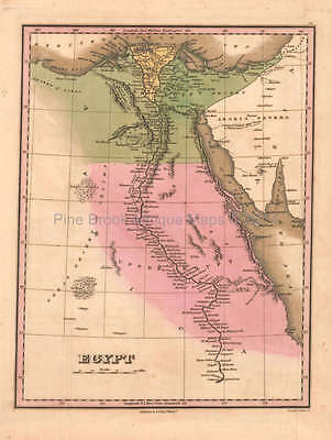 Egypt Antique Map Original Egyptian Decor Gift Ideas Anthony Finley 1824