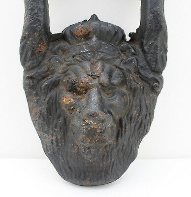 Vintage Iron Lion Door Pull Knocker Handle Wall Art Antique Rustic Gothic 7""
