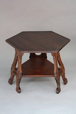 1920s Carved Leg Side Table Hexagonal Fits Arts & Crafts English Tudor (8279)