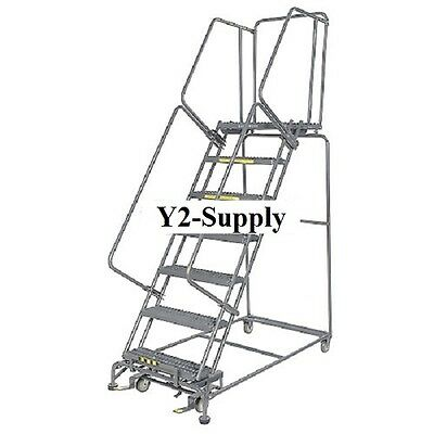 "NEW! Perforated 16""W 7 Step Steel Rolling Ladder 14""D Top Step!!"
