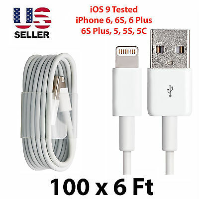 Wholesale 100 x 6FT Lightning USB Cable Cord Charger For iPhone 6, 6S, 6 Plus