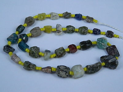 Ancient Fragment Glass Beads Strand Roman 200 BC   #ML1329