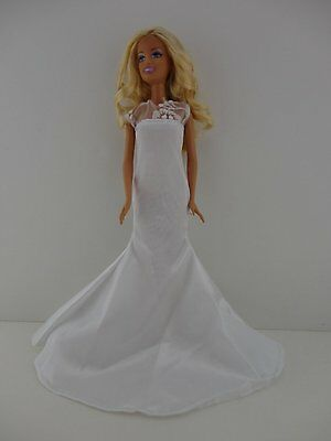 Old Hollywood Inspired Dress in Bright White with See Thru Lace Bodice