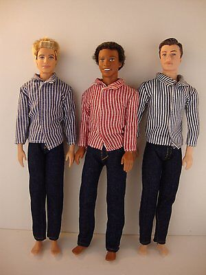 Set of 3 Ken Doll Outfits Jeans with Long Sleeve Dress Shirts 6 Pcs of Clothing