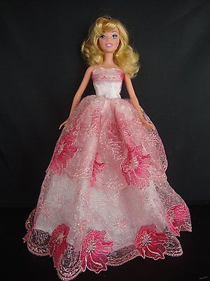Pink Strapless Ball Gown with Pink Flower Lace Made to Fit Barbie Doll