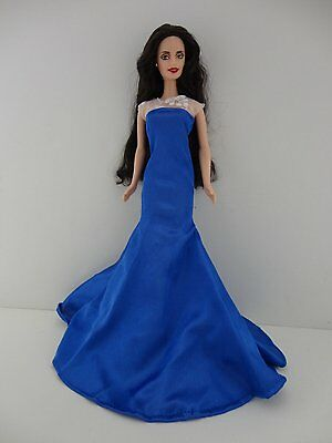 Old Hollywood Inspired Dress in Bright Blue with See Thru Lace Bodice