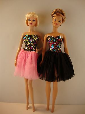 Set of 2 Cocktail Dresses Multi Color Sequins & tulle Skirts in Pink Black