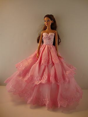 Sweet Pink Ball Gown with 3 layers of Lace For Barbie