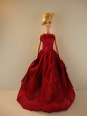 Deep Beautiful Burgundy Gown Made to Fit Barbie Doll   Doll not Included