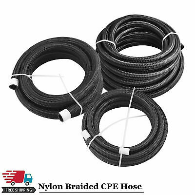 1 Foot Black AN10 Nylon And Stainless Steel Braided Fuel Oil Gas Line Hose -10AN
