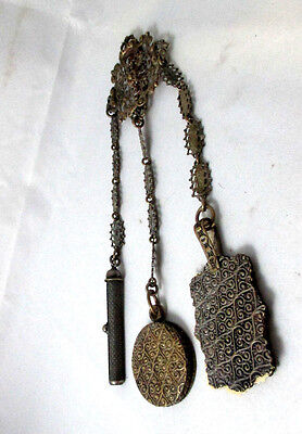 RARE Antique VICTORIAN c1800's~~5 ARM silver plate CHATELAINE~~articulated fish