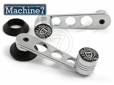 Classic VW Winder handle Chrome with holes Wolfsburg Knob, Beetle Bus 68-79 Pair