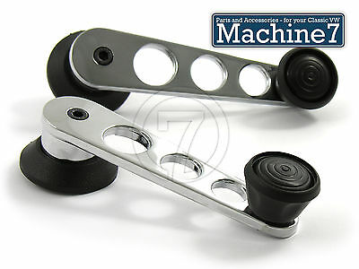 Classic VW Winder handle, Chrome, with holes, Black Knob, Bus Beetle 68-79, Pair