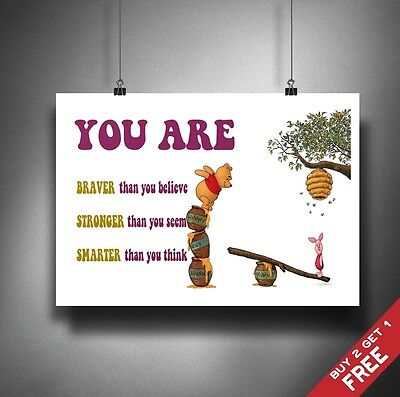 WINNIE THE POOH POSTER A3 A4 * Braver Stronger Smarter * Kids Motivational Quote