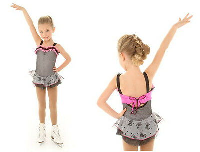New Competition Skating Dress Elite Xpression 1330 Grey Pink Cute Bows 10-12 CL